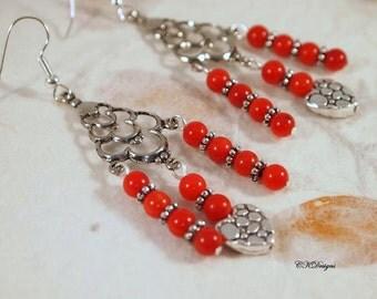 SALE Red Heart Earrings, Red Chandelier Earrings, Red Valentine Earrings, Beaded Chandelier Pierce or Clip-on Earrings. CKDesigns.us