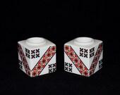 Vintage Pair of Folk Art Ceramic Candle Holders