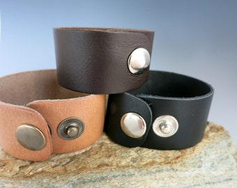 """Leather Cuff Blanks, 1 1/4"""" x 8 1/2"""",  Top Grain Leather in Black, Red Brown or Light Distressed Brown,"""