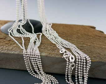 """Sterling Silver 1.5mm Ball Chain Necklace, Spring Ring Clasp, 16"""", 18"""" or 20"""" Your Choice"""