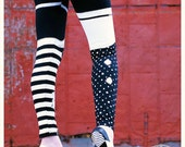 BLACK White Striped Leggings - Pippi GARTER Legging - medium - polka dot Legwear tights printed