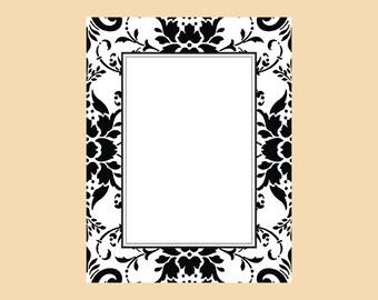 Damask frame in black and white digital download