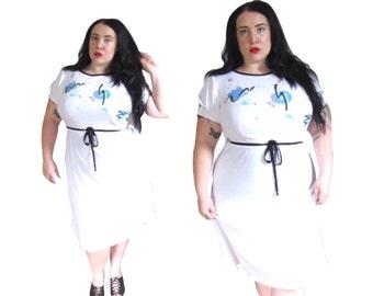 Plus Size Dress / Vintage 1980's White Cotton Dress / Size XL / Vintage Dress
