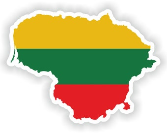 Lithuania Map Flag Silhouette Sticker for Laptop Book Fridge Guitar Motorcycle Helmet ToolBox Door PC Boat