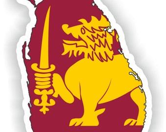 Sri Lanka Map Flag Silhouette Sticker for Laptop Book Fridge Guitar Motorcycle Helmet ToolBox Door PC Boat