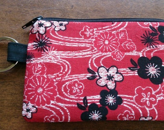 Keychain Coin Pouch - Red Cherry Blossom