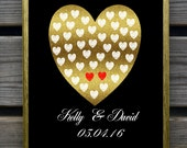Personalized couples print, couples anniversary gift, wall decor, hearts, valentines day gift, gold, elegant wedding