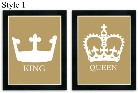 King and queen art prints his and her crowns modern wall for Queen bathroom decor