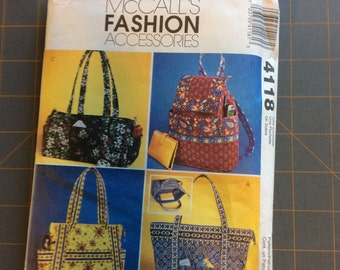 McCalls 4118 Fashion Accessories Quilted Handbags