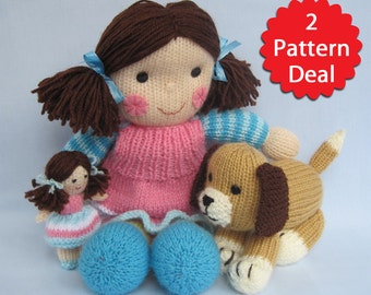 Puppy Love - Maisie and Muffin - 2 pattern deal - toy doll and dog knitting patterns - PDF INSTANT DOWNLOAD