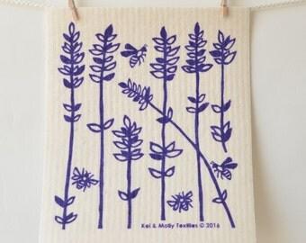 2 European Sponge Cloths: Lavender Sprigs, Purple, Yellow, or Raspberry