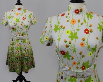 vintage 1960s flirty white neon poppies turtleneck a-line mod scooter dress floral flowers garden party poppy mini spring fling 60s Large