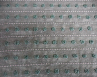 "Morgan Jones GREEN with Green POPS, White Pearls and Tiny White Dash Designs  Vintage Chenille Bedspread Fabric - 18"" X 24"""