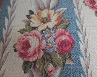 Pair of Gorgeous Vintage Blue GLEN COURT BARKCLOTH with Cabbage Roses, Florals and Scrolls Panels / Drapes