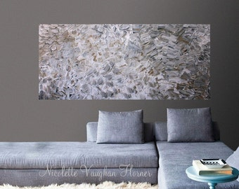 XLarge Abstract painting,Original comtemporary Art,Shades of taupes,grays,lots of texture Ready to hang  by Nicolette Vaughan Horner 48x24