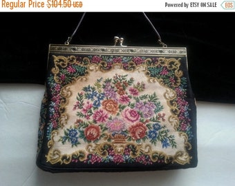 Christmas In July Sale Black Flowered Clutch Handbag * Beaded Antique Evening Bag * 1940's 1950's Collectible Purse * Art Deco Petit Point P