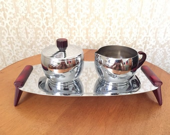 Chrome and Bakelite Cream and Sugar Set - Retro Kitchen - Vintage Bakelite Handle - Serving Tray