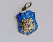 Vintage NEPAL ATHENS 1000 SILVER Enameled Travel Bracelet Sheild Charm - Rare