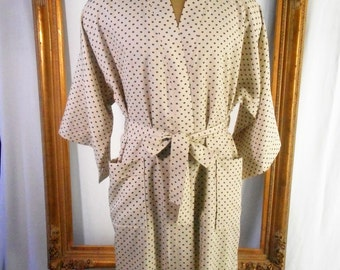 Vintage 1980's Halston Beige Robe with Navy Blue Geometric Print - OSFA
