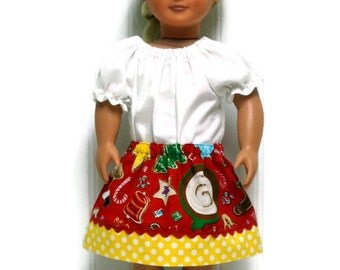 18 inch Doll Clothes Skirt Christmas Cookies and Candy Yellow Polka Dot 15 inch Doll Clothes
