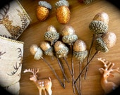Miniature Glittery Bronze Acorn Picks-Lot of 8-Winter Assemblage Pieces-Terrarium-Party Decor-Shabby Chic Acorns-Winter Crafting-Plant Pick