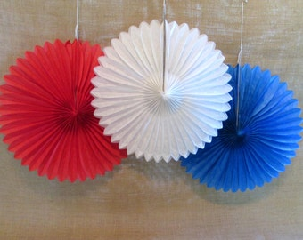 4th of July Decoration Hanging Fans Rosettes 5 Hanging Fans Patriotic Pinwheels Red White and Blue July 4th Favors Fourth of July Decoration