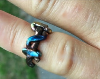 """Fire Painted Copper """"Sparks"""" Ring Handmade Wire Wrapped"""