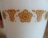 Vintage Pyrex Golden Butterfly Milk Glass Creamer Fire King Retro 60's 70's Madmen Kitsch Kitchen Gold Decor Serving