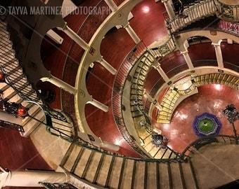 Spiral stairwell 9x12 color photo print by Tayva Martinez