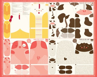 FARM FUN--panel Moda fabric makes cow, pig, chicken, lamb/ sheep 20530-11