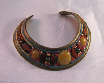 1988 M & J Hansen Handcrafted Egyptian Revival Beaded Brass Bib Necklace