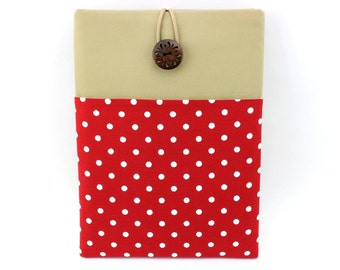 Retro ipad case, Front Pocket iPad Sleeve Polka Dot Red