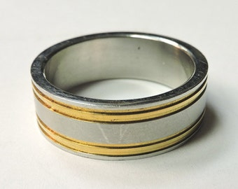 Men's Two-Tone Stainless Steel Wedding Band