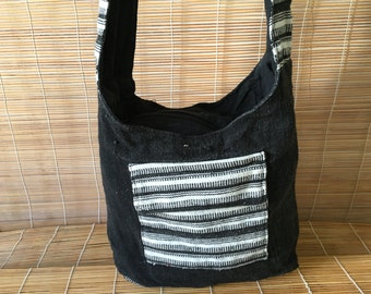 Vintage Black With Black And White Stripes Shepard Shoulder Strap Bag Purse Knitted Bag