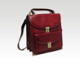 Vintage Burgundy Leather Cross Body Bag, Saddle Bag, Messenger