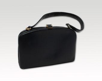 Vintage, Navy Blue Leather Handbag, Mad Men Bag, Purse 1960's