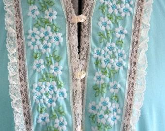 Valentine Sale Robin's Egg Blue Nightgown 1960's Embroidered Small Gossard Artemis