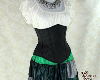 "Steampunk Black Pinstripe Steel Boned Waspie Corset w/Solid Front -- Corset Size 34, Fits Waist 37""-39"" -- Ready to Ship"