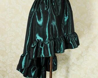 "Steampunk High Low Cecilia Skirt, Longer Length -- Dark Green Taffeta -- Ready to Ship -- Best Fits Up To 48"" Waist"