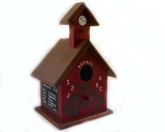 Schoolhouse Birdhouse - Decorative birdhouse, school birdhouse, chalkboard, little red schoolhouse, red birdhouse, tree swing, autumn decor