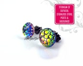 Rainbow Dragon Egg Earrings - 7mm or 9mm Round Color Changing Stud Earrings Titanium or Stainless Steel Posts - Mermaid Scale Earrings