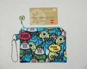 "Padded Zipper Pouch / Coin purse / Gift Card Pouch Made with Japanese Cotton Oxford Fabric ""Monster's University"""