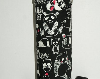 "Insulated Water Bottle Holder for 40oz Hydro Flask with Interchangeble Handle and Strap Made with Cotton Oxford Fabric ""Panda Sketches"""