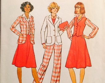 Simplicity 7376 Misses' Unlined Jacket, Vest, Skirt and Pants Pattern, UNCUT, Size 14, Retro, Vintage 1976, Work Wear, Casual, Flared Skirt