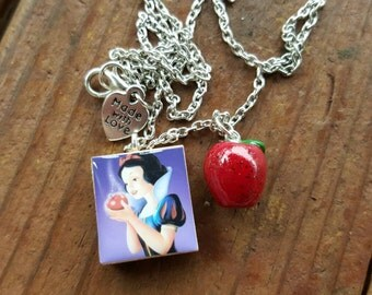 Disney Snow White Double Sided Scabble Tile Necklace With Polymer Clay Poison Apple Charm