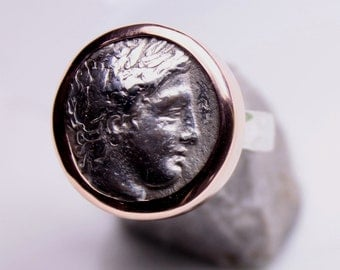 Ancient coin ring  in silver and bronze
