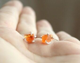 Sunrise - Raw fire opal stud post earrings sterling silver