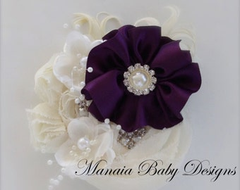 Ivory and Plum Vintage Headband
