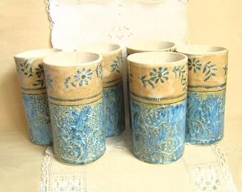 Handbuilt Stoneware Pottery Tumblers, Glasses,  16 oz, Cobalt Blues, Golden Cream, Lace Textured