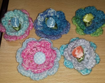 Crocheted Flower Embelishments Cath Kidston Inspired Roses/button